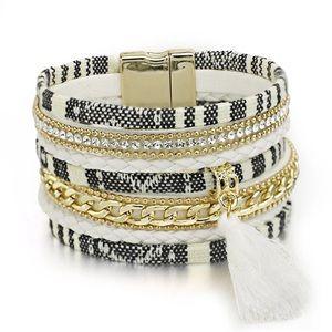 Jewelry - BOGO SALE Black White Striped Wrap Bracelet